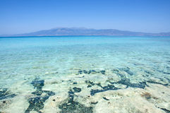 Pictorial, impressive background of turquoise sea, Chrissi Island, Crete, Greece Royalty Free Stock Photo