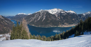 Pictorial lake achensee in march, view from the mountain Stock Images