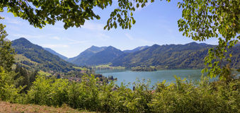 Pictorial lake view schliersee from mountain path Stock Image