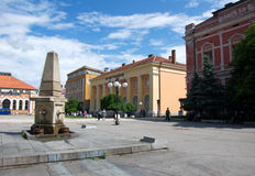 Pictorial landscape of a city square with the old fountain, Zajecar, Serbia Royalty Free Stock Photo