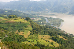 Pictorial landscape of Drina river and sunny fields, Serbia. Pictorial, summer landscape of Drina river, Serbia. There are beautiful, sunny fields and meadows Stock Photo