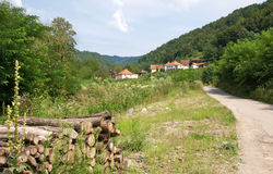 Pictorial landscape of mountain country road, Serbia Stock Photos