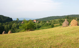 Pictorial landscape of a small mountain village, Serbia. Pictorial summer landscape of a small mountain village, Serbia, with fields, meadow, hayricks and trees Royalty Free Stock Images