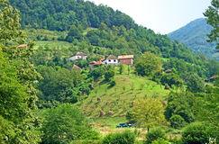 Pictorial landscape of village houses on the hill, Serbia. Pictorial summer landscape of mountain, country houses on the top of the hill, bee hives and green Royalty Free Stock Photography