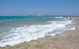 Pictorial landscape of waves on Malia beach, Crete Island Stock Image