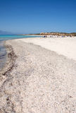 Pictorial, lonely beach with shells and snails at Chrissi Island, nearby Crete, Greece. Pictorial landscape of the lonely beach and turquoise sea at the Chrissi Stock Photography