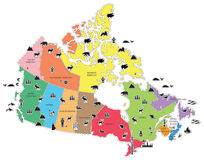 Pictorial Map of Canada Stock Photos