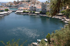Pictorial morning landscape of Agios Nikolaos, Crete, Greece royalty free stock images