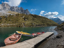 Pictorial partnun lake with rowing boats, switzerland Royalty Free Stock Photos