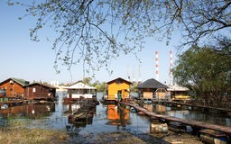 Pictorial  rafts and cottages on the river Sava in Belgrade. Pictorial landscape of rafts and cottages at the river Sava in Belgrade. Rafts are located at Royalty Free Stock Photos