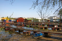 Pictorial  rafts and cottages on the river Sava in Belgrade Stock Photos