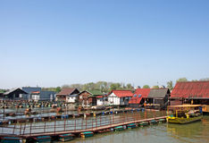 Pictorial  rafts and cottages on the river Sava in Belgrade Stock Images