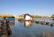 Pictorial rafts, cottages and thermo power station at the river Sava in Belgrade Stock Photo