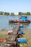 Pictorial rafts opposite the city on the river Sava in Belgrade Royalty Free Stock Image