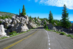 The pictorial road in the Golden Gate Area, Yellowstone National Park, Wyoming, USA Royalty Free Stock Image
