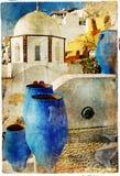 Pictorial Santorini streets. Beautiful Santorini -artwork in painting style royalty free illustration