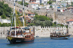 Pictorial scene with yachts near castle. Alanya - Turkey Stock Images