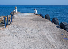 Pictorial, small dock at Chrissi Island, nearby Crete, Greece Royalty Free Stock Images