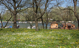 Pictorial spring riverside with rafts in Belgrade Royalty Free Stock Image