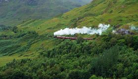 Pictorial steam train in Scotland Royalty Free Stock Photo