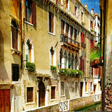 Pictorial streets of Venice. Beautiful venetian canals - artistic picture Royalty Free Stock Photos