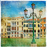 Pictorial streets of Venice. Beautiful venetian canals - artistic picture stock illustration