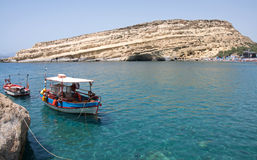 Pictorial, turquoise bay of Matala beach, Crete Island, Greece Royalty Free Stock Photography