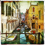 Pictorial Venice. Venetian canals - picture in retro painting style stock illustration