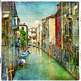 Pictorial Venice. Beautiful venetian canals - artistic picture Stock Photos