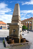 Pictorial, very old city fountain, Zajecar Downtown, Serbia. Details of very old, pictorial city fountain, Zajecar, Serbia. Unique artistic details, cast in Royalty Free Stock Photos