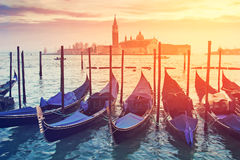 Pictorial view of blue gondolas in Venice Royalty Free Stock Photography