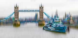 Pictorial view with HMS Belfast on the River Thames in London an. Pictorial view with HMS Belfast on the River Thames in London, with the Tower Bridge in the Stock Images