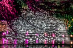 Pictorial view with lights projections at Kew Gardens, London. Pictorial view with lights projections at Kew Gardens, during Christmas time. Glass filter applied Stock Photography