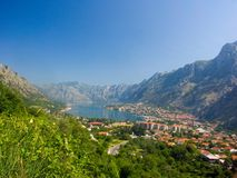 Pictorial view in Montenegro bay. Mountain, port Royalty Free Stock Images