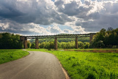 Pictorial view of a train bridge in Germany. 