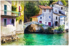 Pictorial village Nesso in Lago di Como. Artistic picture Stock Image