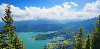 Pictorial walchensee, view from above Royalty Free Stock Photos