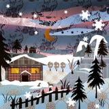 Pictur retro del invierno de la naturaleza del diseño del remiendo de la Navidad del fondo Foto de archivo