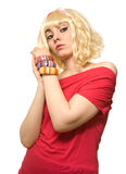 Pictura of woman in blond wig Stock Photography