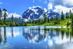 Picture湖常青树登上Shuksan华盛顿美国 免版税库存照片