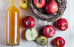 Picture from above. Freshly aqueezed apple juice. royalty free stock images