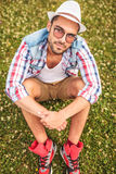 Picture from above of a relaxed young casual man Royalty Free Stock Image