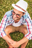 Picture from above of a smiling young casual man Royalty Free Stock Images