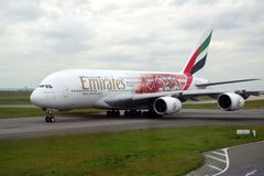 Picture of an Airbus A380 from Emirates on Paris Charles de Gaulle runway. royalty free stock photography