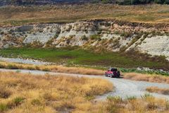 Picture of allroad jeep in the middle of desert. Picture of allroad jeep in the desert royalty free stock image