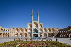Amir Chakhmaq complex in summer. It is a mosque located on a square of the same name, and a major landmark of Yazd. Picture of the Amir Chakhmak mosque taken royalty free stock images