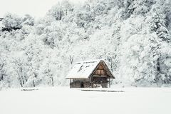 picture of ancient houses and snow is heavy at Shirakawa-go vill Royalty Free Stock Images