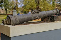 Ancient very old Indian cannon once used by the kings royalty free stock photo