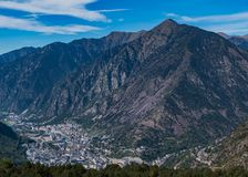 Andorra la Vella I. A picture of Andorra la Vella and its valley as seen from the nearby mountains royalty free stock image