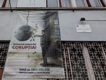 Anti Corruption poster displayed on a police station wall in Medias, Transylvania. stock images